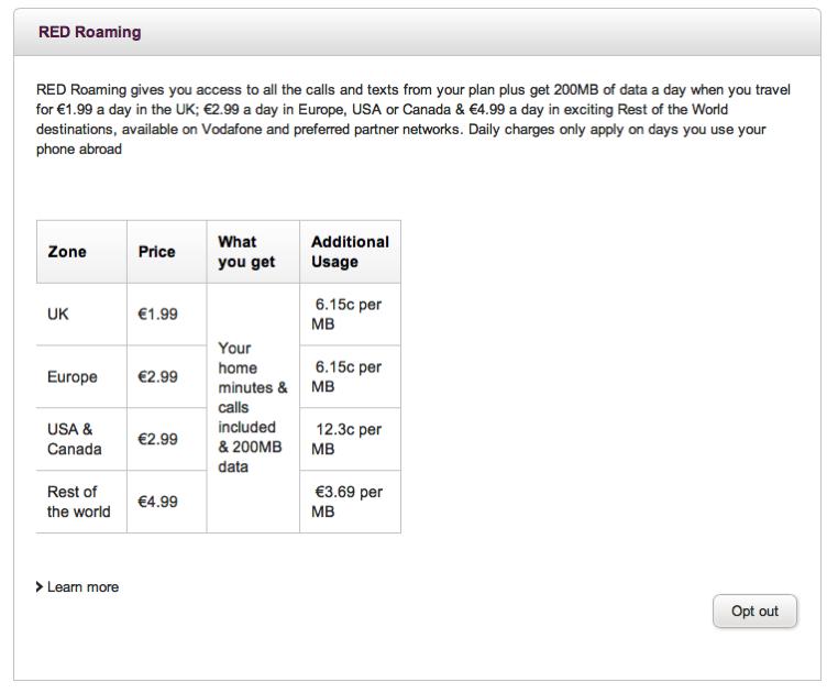 Vodafone IEは、英国では1日200MB/1.99ユーロ、それ以外の欧州では2.99ユーロと激安!