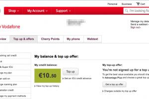 Vodafone IEログインページ