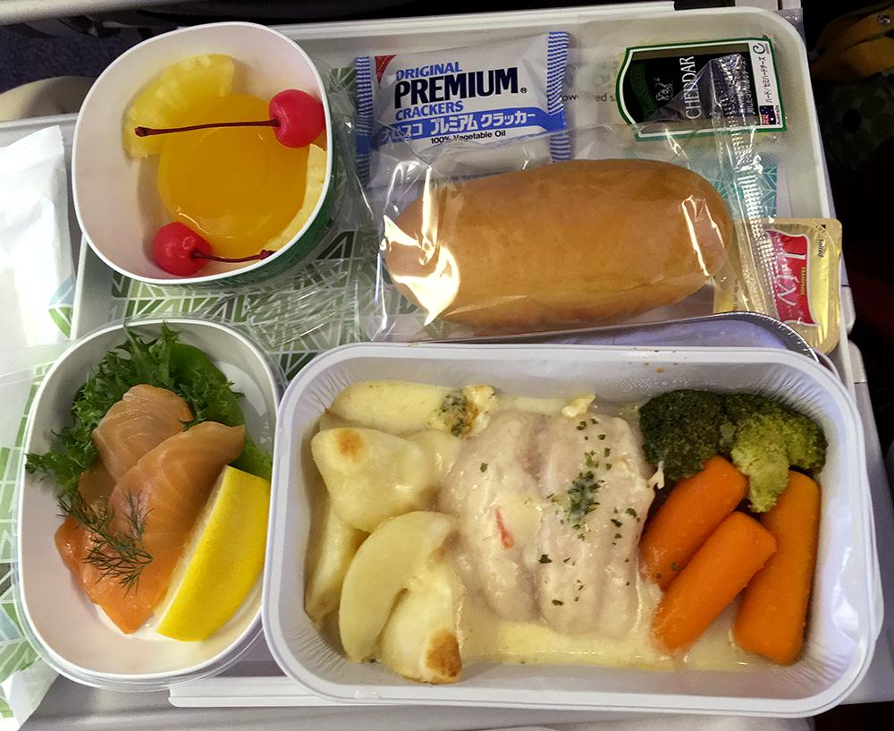 アリタリア航空、行きのシーフード特別食
