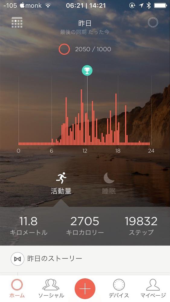 本日の歩数と歩行距離