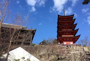 厳島神社近くから先程行った五重の塔と豊国神社が見えた