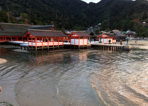 夕暮れになってやっと神社に潮が到達。この時間が17時半くらい