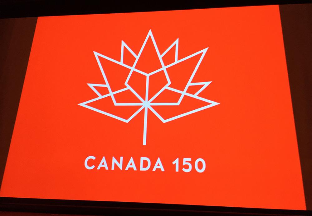 カナダ建国150周年イベントのロゴ