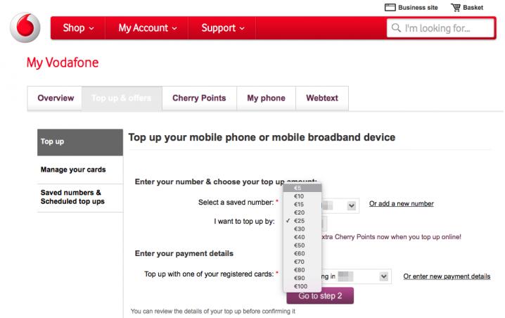 「Vodafone IE」再チャージは5ユーロから可能