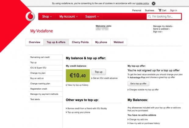 「Vodafone IE」に再チャージして10.4ユーロに!