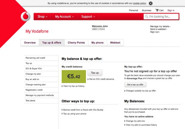 「Vodafone IE」に再チャージして5.42ユーロに!