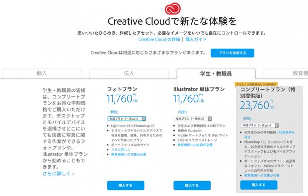 Adobe CCの学割料金