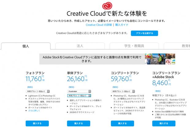 Adobe CCの正規料金