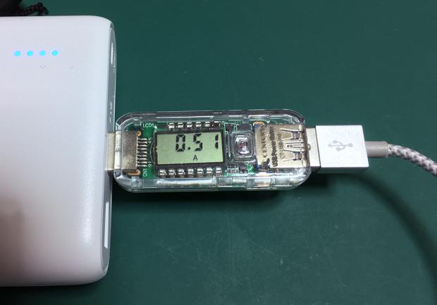 iPhone SE+ANKERのLightningケーブルの出力電流