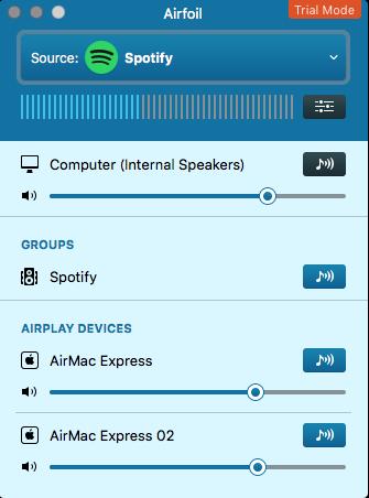 「Spotify」グループを選択すると2つのAirPlay端末が選択中になる