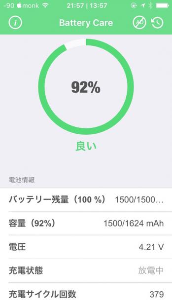 iPhone SEのバッテリー劣化は92%