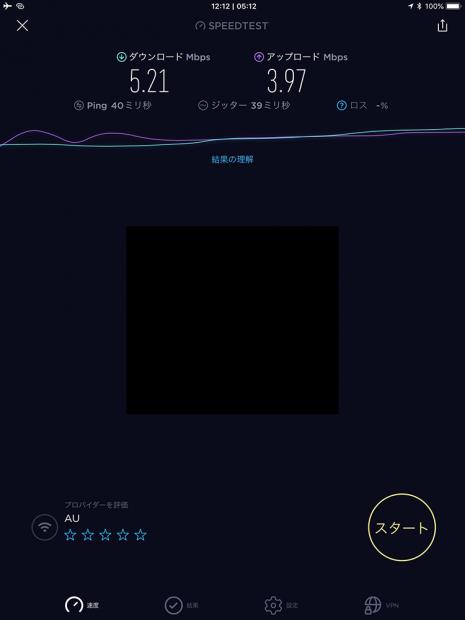 iPad Airの回線速度。テザリングでも5Mbos