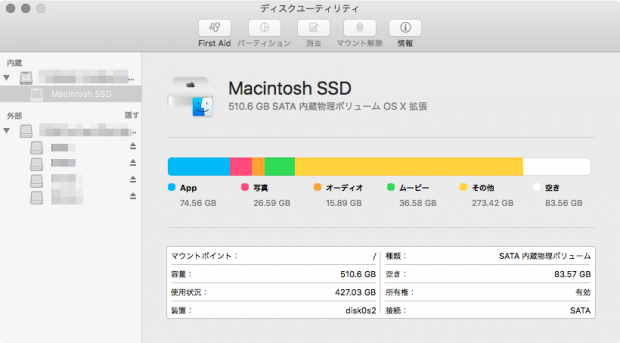 2つの仮想環境を構築したため、SSdの空き容量が80GBに減少