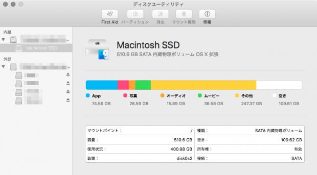 「Mac mini」のSSDの空き容量が110GBまで増えた