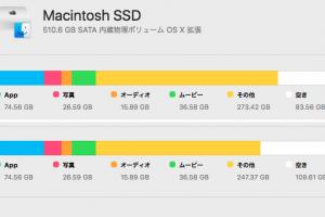 SSDの空き容量110GBを確保