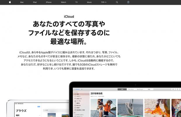 台替え選択肢の候補「Apple」の「iCloud」