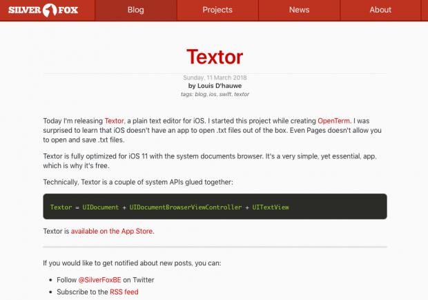 本家「Textor」のWebサイト