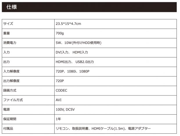 「Streaming/HD/BD Recorder」の仕様表
