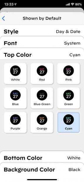 「インフォグラフ」の「下サブダイヤル」の「Top Color」を「red」から「cyan」に変更
