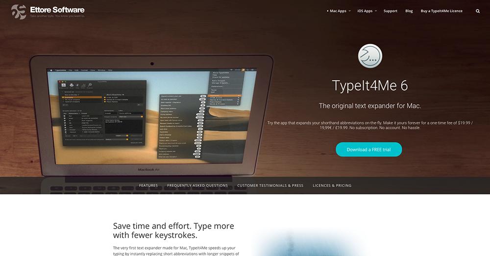 「TypeIt4Me」のトップ画面