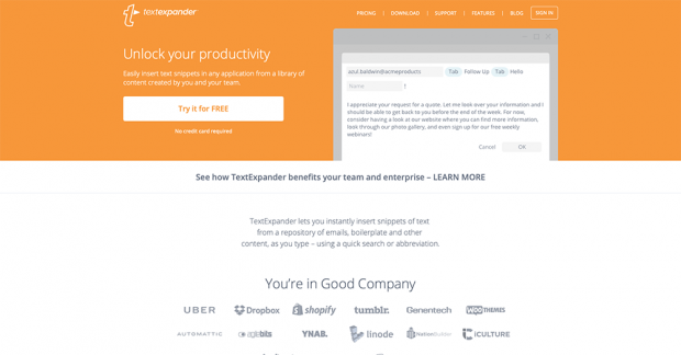 「TextExpander」のトップ画面