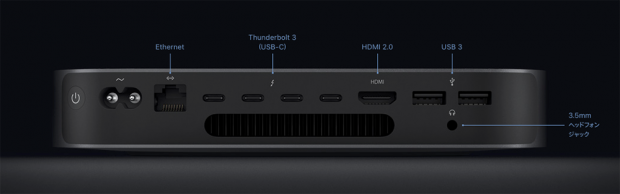 「Mac mini 2018」のリア面。「Thunderbolt 3」端子を4つ搭載