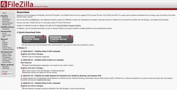 検討した「FileZilla」はフリーウェア
