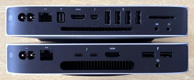 「Mac mini 2012」(上側)と「M1 Mac mini」(下側)のリア面の比較