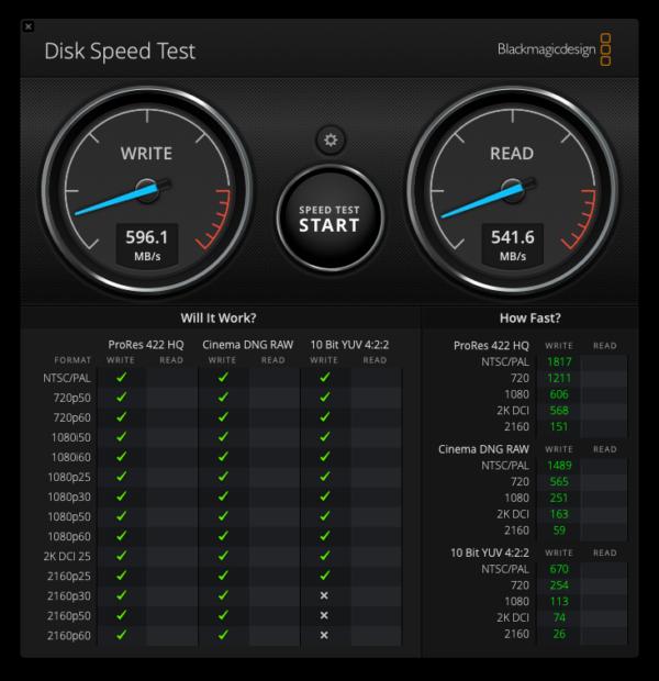 「Blackmagic Disk Speed Test」でスピードテスト