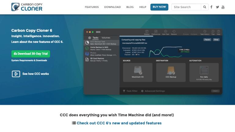「Carbon Copy Cloner」Webサイト